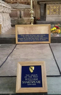 Shakespeare's grave in Holy Trinity Church, Stratford